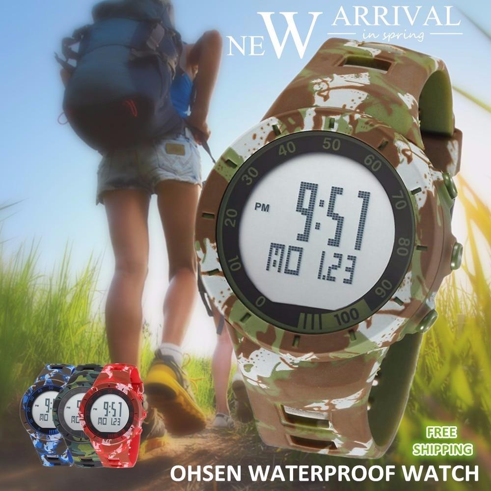 Digital LED Watch Army Green Men Sports Wristwatches Rubber Strap Waterproof Fashion Alarm Watch Clocks Stopwatches Reloj Hombre 8