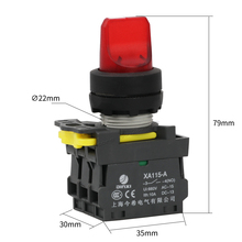 Maintained illuminated selector push button switch LED lamp 2NO lock latching switch XA115-A1-20XSD 3 position rotary switch(China)