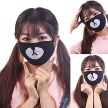 1pc Unisex Dustproof Cotton Mouth Mask Korean Kpop Star Style Black Lucky Bear Cycling Anti-Dust Mouth Mask Face Respirator(China)