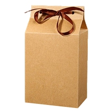 1 Pcs Retro Mini Kraft Paper Box DIY Wedding Gift Favor Boxes Party Candy Box Small Single Cake Packaging with Ribbon(China)