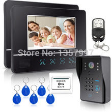 Wired Touch Key 7 inch Color Screen Video Door Phone Intercom System RFID Keypad Code Number Access Control Camera 2 Monitor