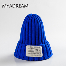 MYADREAM Fashion Cloth Tag Patchwork Beanie Cap Men Hats for Women Hip Hop Knitted Wool Hat Winter Bone Skullies Gorros