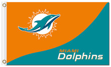 Top design Miami Dolphins flag 90x150cm outdoor polyester banner with 2 Metal Grommets Wholesale(China)