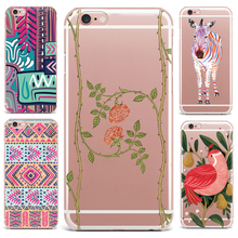 Case For Apple iPhone 7 6S 8 6 Plus X 4 5s Phone Case Flowers Patterned Series Soft TPU Cute Tropical Plants Protective Effects(China)