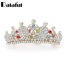 Dalaful Charm Multicolor Crystal Cute Crown Hair Wear Fashion Bridal Accessories Barrette Hairpin For Women Lady F145(China)