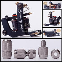 USA Dispatch New Tattoo Machine Gun 10 Coils for Shader with free gift of 304 Stainless Steel Silver Auto Lock Grip Tubes supply(China)