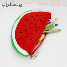 1PC School Supplies Big Volume Plush Watermelon Pencil Bag Stationery Storage Bags(China)