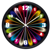 Creative Abstract Fake Neon Light Design Wall Clock Glass Metal Coloful Clock for Living Room Office