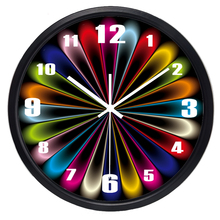 Creative Abstract Fake Neon Light Design Wall Clock Glass Metal Coloful Clock for Living Room Office(China)