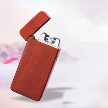 Electric Metal Flameless Torch Rechargeable Windproof Lighter Double arc pulse cross USB ligthers smoking Wood grain Lighters(China)