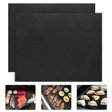 2pcs/lot 0.2mm Thick ptfe Barbecue Grill Mat 33*40cm non-stick Reusable BBQ Grill Mats Sheet Grill Foil BBQ Liner()