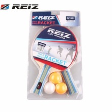 REIZ Short Or Long Handle Shake-hand Table Tennis Set 2 Rackets 3 Table Tennis Balls Ping Pong Paddle Table Tennis Racket RZ2501