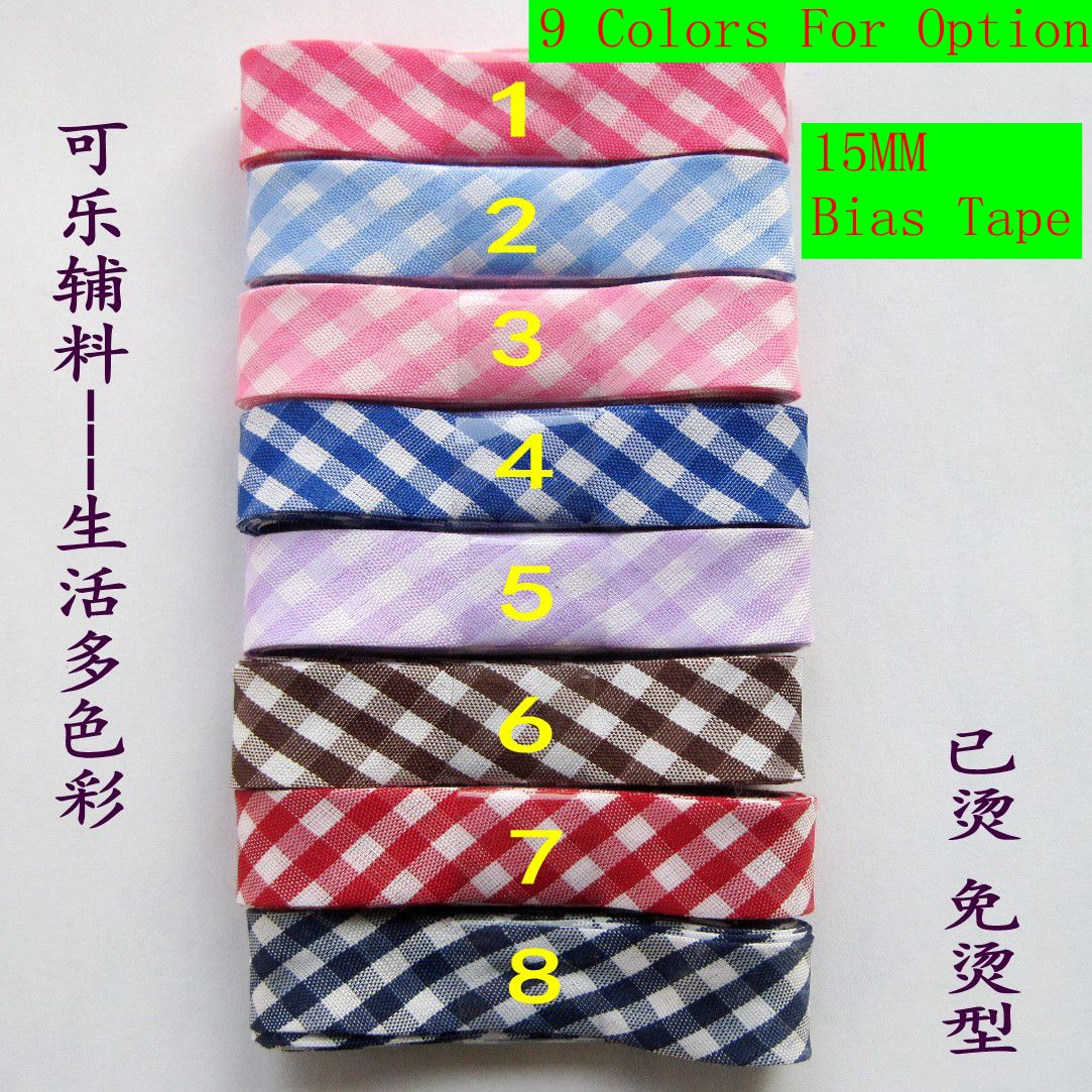 """10 meters/lot grids printing 15mm(5/8"""") width ironed single fold poly-cotton bias tape/ bias binding for craft sewing"""
