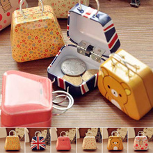 1 pcs mini Handbag metal box small coin earring button candy jewelry tin boxes gift storage boxes organizer pill Case decor S2