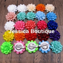 20pcs/lot  Satin Cabbage Flowers handmade satin puff flower Hair Clips Metal Alligator Clips Brooch Hair Pins Accessories