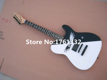 Factory custom electric guitar with black and white angel pattern,2 pickups,fixed bridge,black hardware,can be cusomized(China)