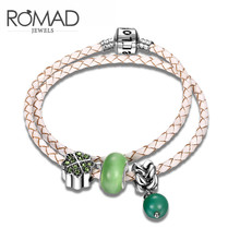 Explosion Pink & Green Leather Bangle  Bracket for Women Jewelry Classic Lover Holiday & Birthday Gift Romad Band
