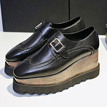 Shoes Woman 2016 Genuine Leather Platform Creepers Height Quality Ladies Shoes Fashion Buckles Creepers Designer Women Shoes