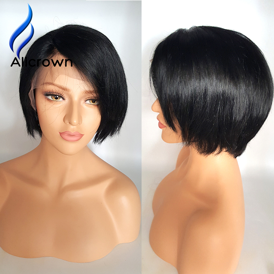 Alicrown Short Bob Cut Wigs With Baby Hair Unprocessed Virgin Brazilian Short Human hair Wigs Bob Wig For Black Women<br><br>Aliexpress