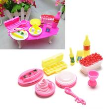 10pcs/set Educational Classic Toy DIY Birthday Cake Dinner for Barbie Doll Children Kids Baby Pretend Play Kitchen Food Toy