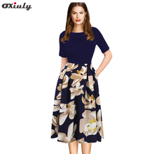 Buy Oxiuly Women's Vintage Polka Dot Floral Print Patchwork Summer Dress Pinup Tunic Work Casual Office Party Line Skater Dress for $20.69 in AliExpress store