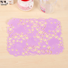 Keythemelife 1 Piece Hollow Placemat Table Mat Insulation Pad Silicone Cup Mats Cartoon Table Decoration 2B5