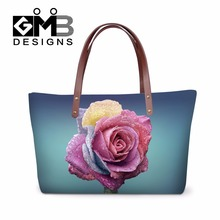 2016 Fashion Flower Print Trendy Handbags for Women Work,3D Pattern over shoulder hand bags for Lady,Girls Personalized tote bag