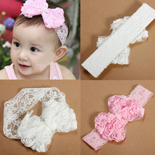 2014 Popular Elastic Lace Bowknot Flower Headbands Hairband with White/Pink Colors for Cute Newborn Girls