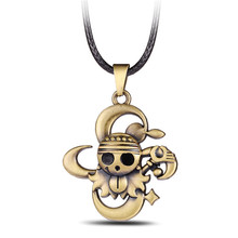 2016 Vintage Anime One piece antique brown skull pendant necklace for men top grade Personality Jewelry Famous Anime Gift