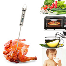 Digital Probe Meat Thermometer Stainless Steel Kitchen Cooking BBQ Food Probe Thermometer with Hang Loop(China)