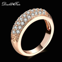 Cubic Zirconia Engagement Rings Wholesale Rose Gold/Silver Color Crystal Fashion CZ Stone Wedding Jewelry For Women DFR061M(China)