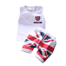 1-4Years 2pcs Baby Boy Girls Clothing Set Kids Outfit Child Vest + Flag Pants Clothes Suits Sets 3 Colors LL6