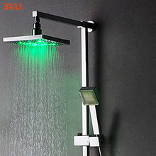 Freeshipping BAKALA Single Handle Contemporary Color Changing LED Shower Faucet with 8 inch Shower Head +LED Hand Shower