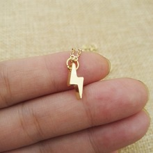 1pcs  Vintage Beautiful Jewelry cute and delicate Lightning bolt charm necklace Thunder strike dainty necklaces SanLan