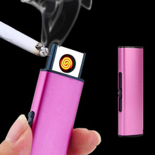2017 Strip Double Side Metal USB Lighter Rechargeable Electronic Lighter Cigarette Turbo Lighter Flameless Cigar Plasma Lighters(China)