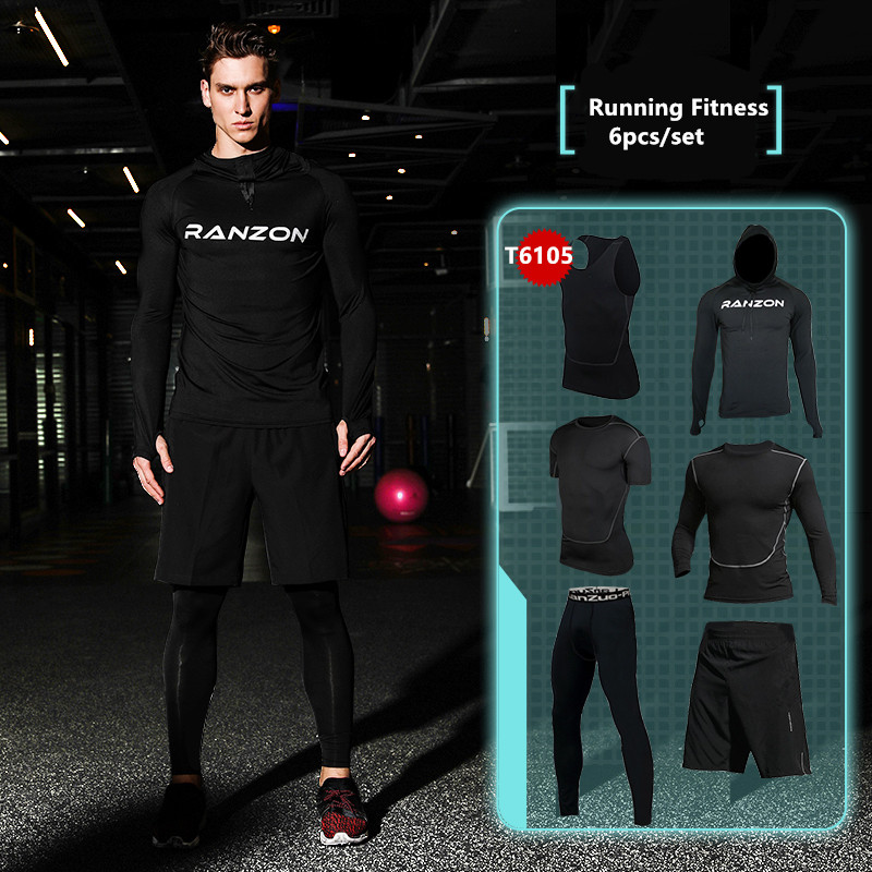 2017 new men sports running sets quick dry jogging sport gym fitness compression suit soccer basketball suit set clothes for men<br>