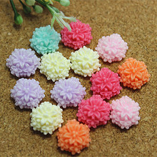 50pcs 13mm Mix Colors Resin Flower Flatback Cabochon for DIY Scrapbooking Decorative Craft Making
