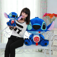 One Piece New Arrival Blue Holding Candy Lollipop Stitch Plush Toy Doll Pillow Creative Gifts Brinquedos Girls&Boys Present