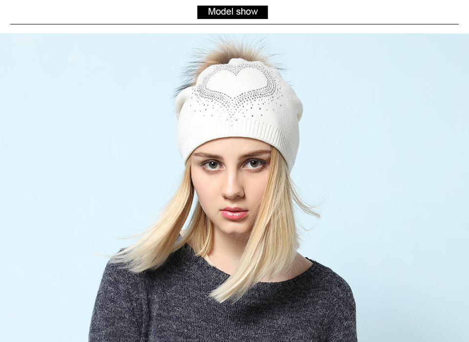 Ralferty 2018 New Real Fur Pompom Hats For Women Heart Pom Pom Beanies Thick Warm Wool Knitted Hat Women's Baggy Caps Bonnet 2