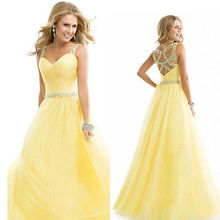 New Long Chiffon Party Bridesmaid Formal Gown Ball Wedding Prom Party Dress Yellow Color(China)
