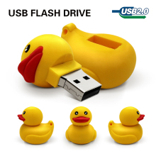 usb flash drive 32gb rubber duck yellow 64gb memory stick 4g 8g 16g pen drive usb gift cartoon u disk usb2.0 tablet computer(China)