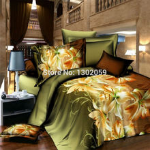 High Quality 3D Lily Flower Total 4 Pcs Quilt Cover Bed sheet Pillowcase King Queen Bedding Set