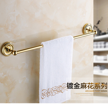 Luxury 100% copper single gold gilded towel rack Continental hardware bathroom accessories free shipping(China)