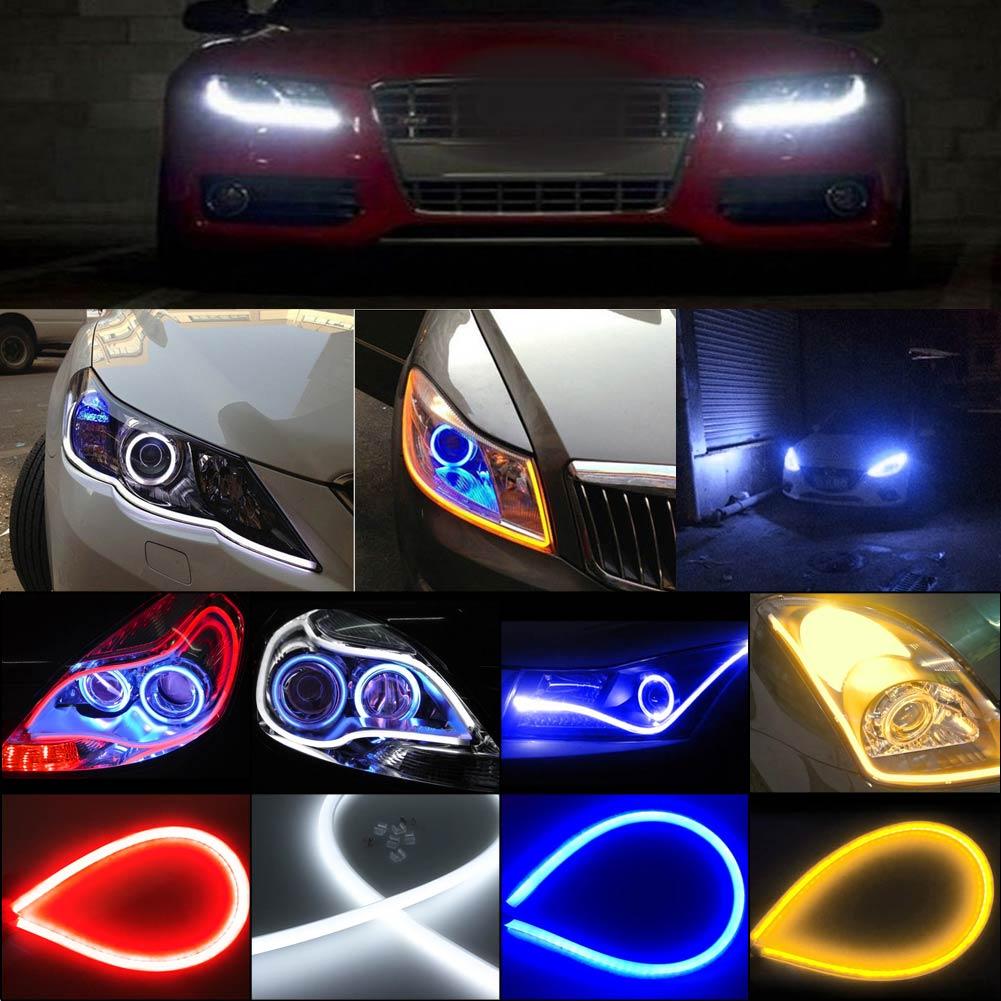60cm Ultra Thin Car Soft Tube LED Strip Daytime Running Light Turn Signal Lamp Flexible LED Strip Lights Fit for Any 12V Cars Daytime Running Light