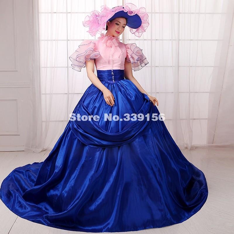 elegant pink and blue southern belle dress marie antoinette halloween costumes rococo and carnivale gowns dress - Blue Halloween Dress