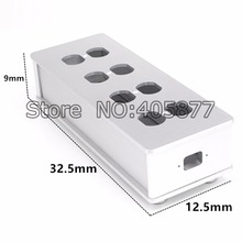 HIFI US AC Power Strip Bar Distributor Aluminum 8 Outlet Box HIFI Chassis silver