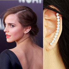 High quality pendientes personality earrings clips silver full rhinestone ear cuff clip earrings for women brinco jewelry 8228