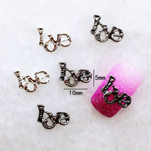 "10Pcs/Lot 5*10mm Retro Gold Silver  Letter ""Love""    Metal Alloy Nail Art Decorations 3D DIY Nail Stickers Jewelry Nail Charms"