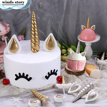 3pcs/set Unicorn Cake Toppers Unicornio Horn Ears Cake Decorations Cupcake Toppers Baby Birthday Party Decorations Baking Tools(China)