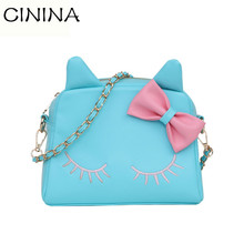 Fashion Women Pu leather Hello kitty Shoulder Bags Cartoon Messenger Bag Famous Designer Bowknot Chain Inclined Shoulder Bag(China)